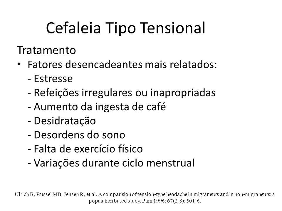 Cefaleia Tipo Tensional Tratamento Fatores desencadeantes mais relatados: - Estresse - Refeições irregulares ou inapropriadas - Aumento da ingesta de