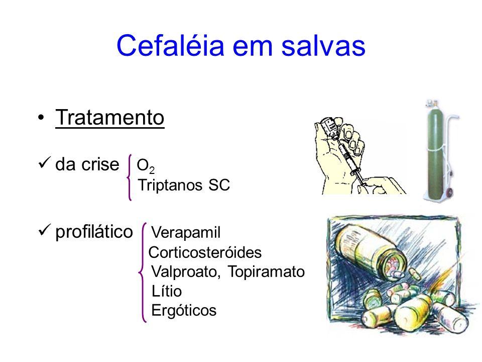 Cefaléia em salvas Tratamento da crise O 2 Triptanos SC profilático Verapamil Corticosteróides Valproato, Topiramato Lítio Ergóticos