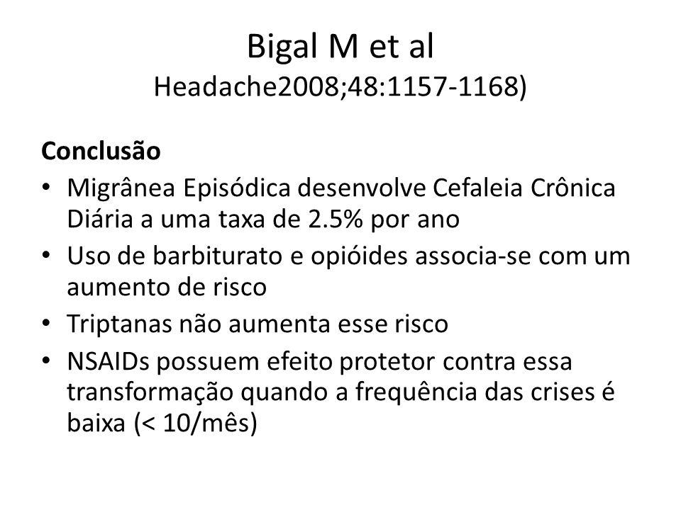 Bigal M et al Headache2008;48:1157-1168) Conclusão Migrânea Episódica desenvolve Cefaleia Crônica Diária a uma taxa de 2.5% por ano Uso de barbiturato e opióides associa-se com um aumento de risco Triptanas não aumenta esse risco NSAIDs possuem efeito protetor contra essa transformação quando a frequência das crises é baixa (< 10/mês)