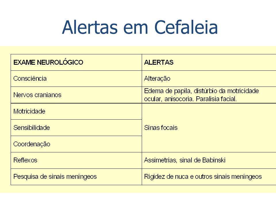 Pacientes com baixo risco para cefaleia secundária Jovem Com cefaleia pregressa e/ou história familiar Alerta, orientado, com capacidade de deambular Exame neurológico repetidamente normal Sem febre Sem qualquer evidência de irritação meníngea