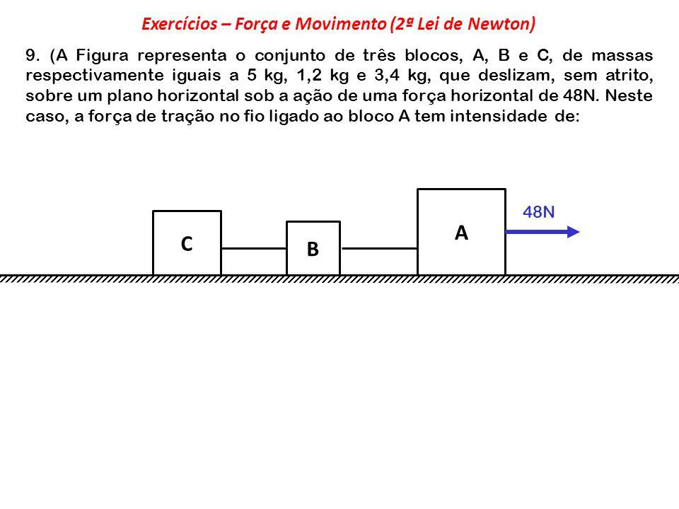 9. (A Figura representa o conjunto de três blocos, A, B e C, de massas respectivamente iguais a 5 kg, 1,2 kg e 3,4 kg, que deslizam, sem atrito, sobre