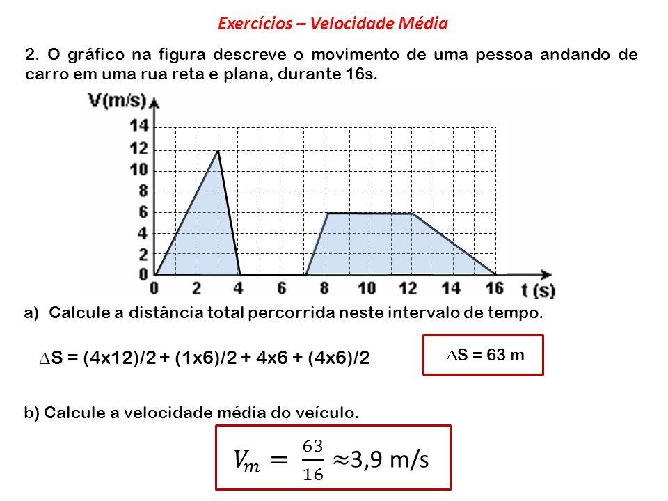 2. O gráfico na figura descreve o movimento de uma pessoa andando de carro em uma rua reta e plana, durante 16s. a)Calcule a distância total percorrid