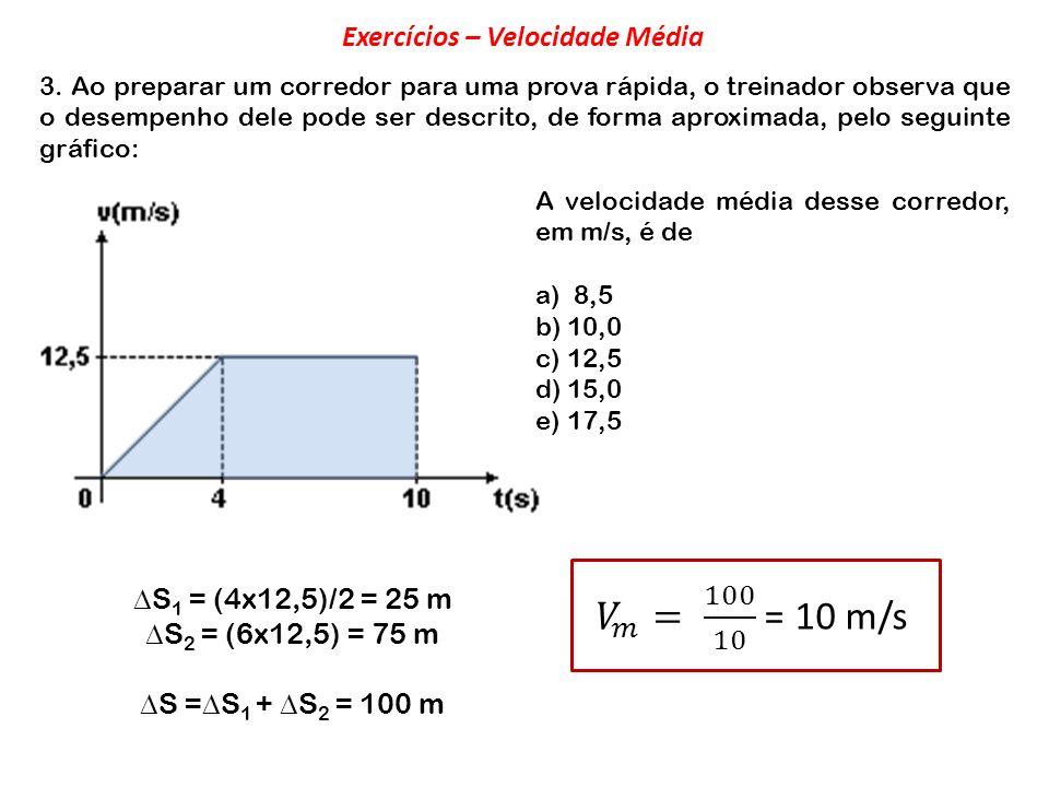 3. Ao preparar um corredor para uma prova rápida, o treinador observa que o desempenho dele pode ser descrito, de forma aproximada, pelo seguinte gráf