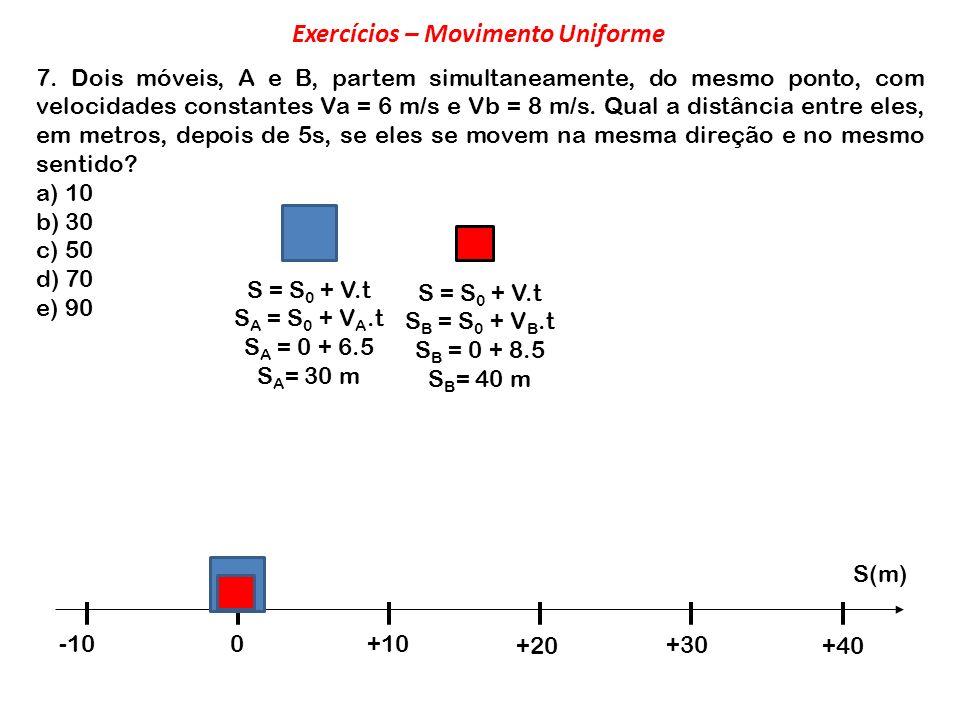 7. Dois móveis, A e B, partem simultaneamente, do mesmo ponto, com velocidades constantes Va = 6 m/s e Vb = 8 m/s. Qual a distância entre eles, em met