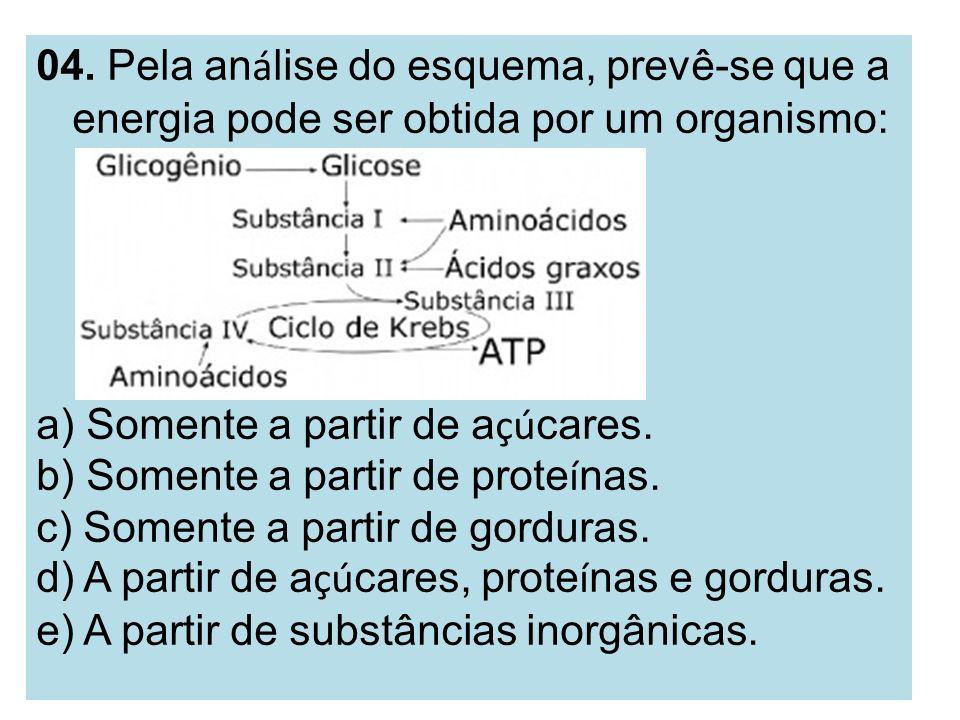 04. Pela an á lise do esquema, prevê-se que a energia pode ser obtida por um organismo: a) Somente a partir de a çú cares. b) Somente a partir de prot
