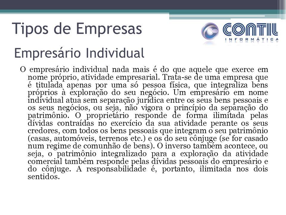 Tipos de Empresas O empresário individual nada mais é do que aquele que exerce em nome próprio, atividade empresarial.