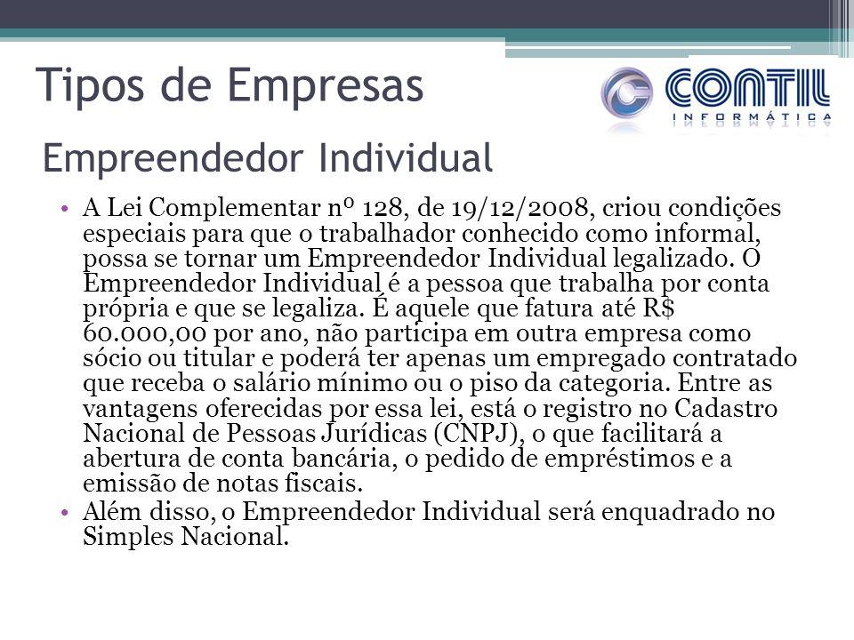 Tipos de Empresas A Lei Complementar nº 128, de 19/12/2008, criou condições especiais para que o trabalhador conhecido como informal, possa se tornar