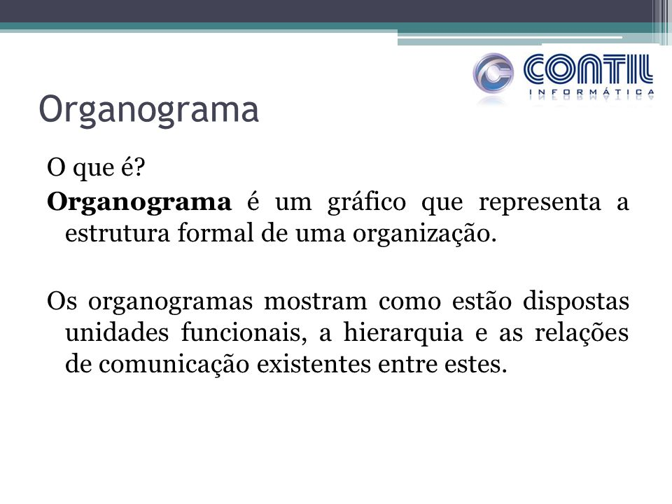 Organograma O que é? Organograma é um gráfico que representa a estrutura formal de uma organização. Os organogramas mostram como estão dispostas unida