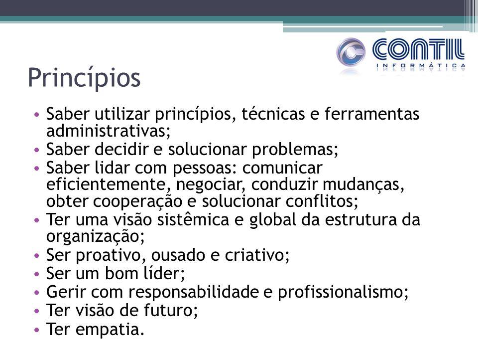 Princípios Saber utilizar princípios, técnicas e ferramentas administrativas; Saber decidir e solucionar problemas; Saber lidar com pessoas: comunicar