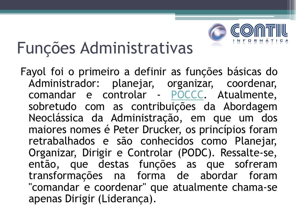 Funções Administrativas Fayol foi o primeiro a definir as funções básicas do Administrador: planejar, organizar, coordenar, comandar e controlar - POC