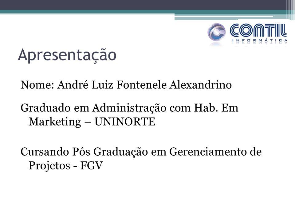 Apresentação Nome: André Luiz Fontenele Alexandrino Graduado em Administração com Hab. Em Marketing – UNINORTE Cursando Pós Graduação em Gerenciamento
