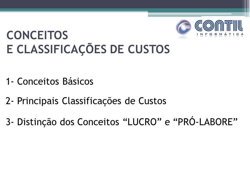 CONCEITOS E CLASSIFICAÇÕES DE CUSTOS 1- Conceitos Básicos 2- Principais Classificações de Custos 3- Distinção dos Conceitos LUCRO e PRÓ-LABORE