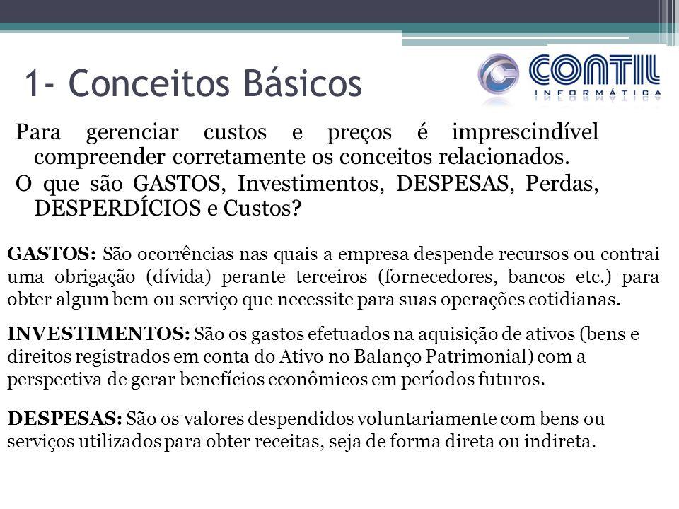 1- Conceitos Básicos Para gerenciar custos e preços é imprescindível compreender corretamente os conceitos relacionados.