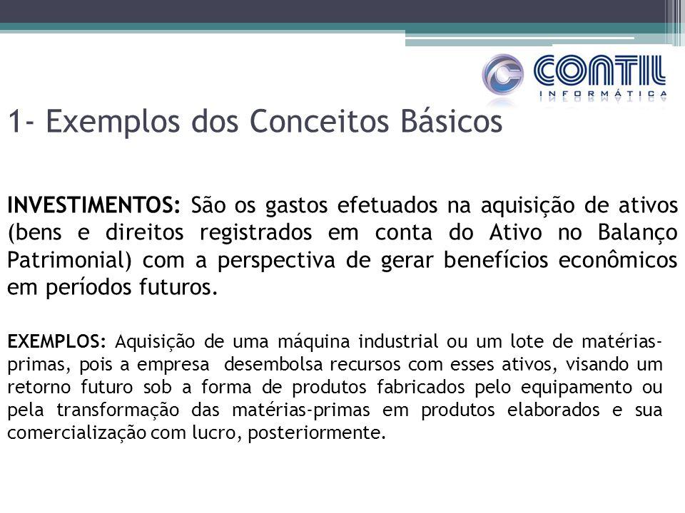 1- Exemplos dos Conceitos Básicos INVESTIMENTOS: São os gastos efetuados na aquisição de ativos (bens e direitos registrados em conta do Ativo no Bala