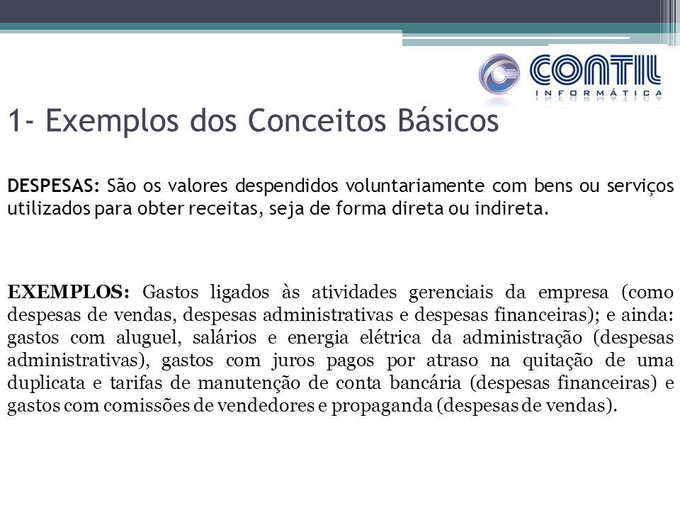 1- Exemplos dos Conceitos Básicos DESPESAS: São os valores despendidos voluntariamente com bens ou serviços utilizados para obter receitas, seja de fo
