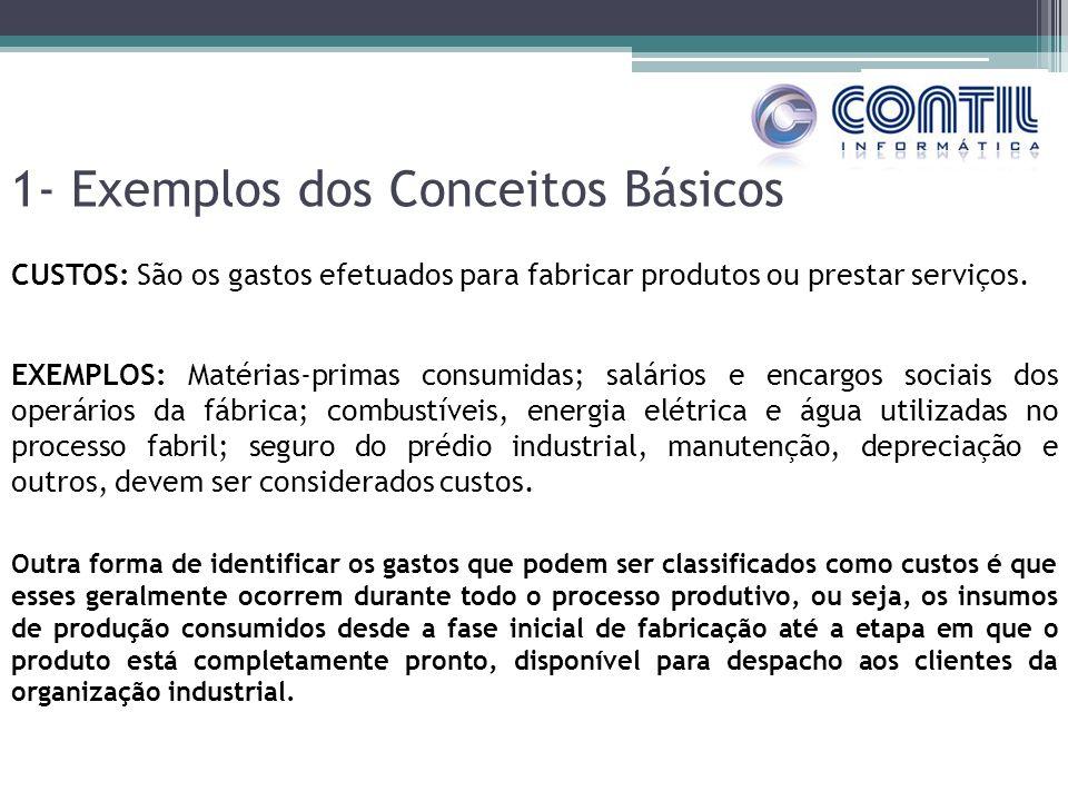 1- Exemplos dos Conceitos Básicos CUSTOS: São os gastos efetuados para fabricar produtos ou prestar serviços. EXEMPLOS: Matérias-primas consumidas; sa