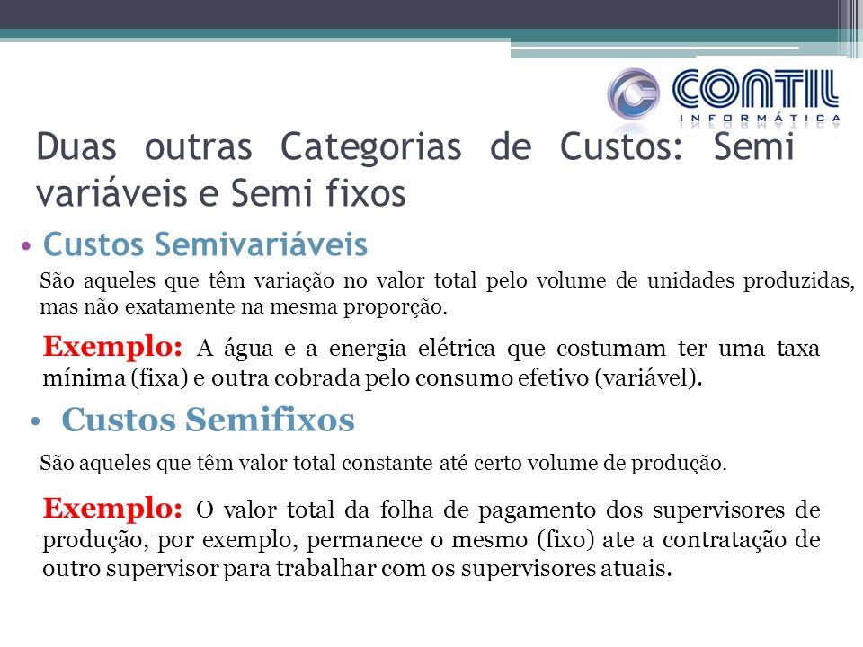 Duas outras Categorias de Custos: Semi variáveis e Semi fixos Custos Semivariáveis São aqueles que têm variação no valor total pelo volume de unidades produzidas, mas não exatamente na mesma proporção.