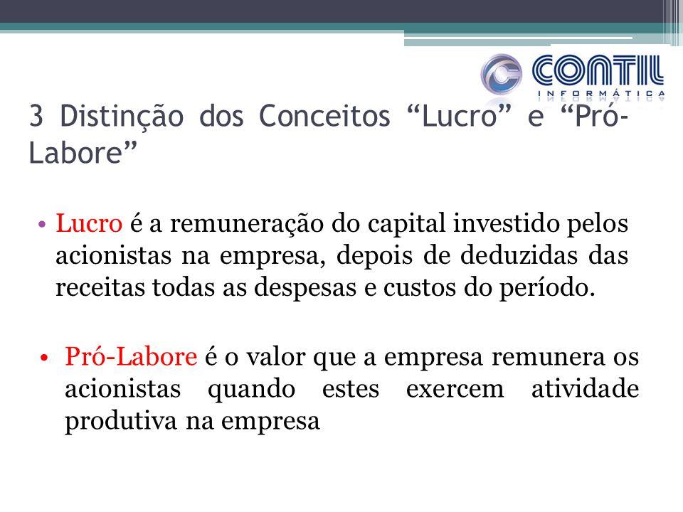 3 Distinção dos Conceitos Lucro e Pró- Labore Lucro é a remuneração do capital investido pelos acionistas na empresa, depois de deduzidas das receitas todas as despesas e custos do período.