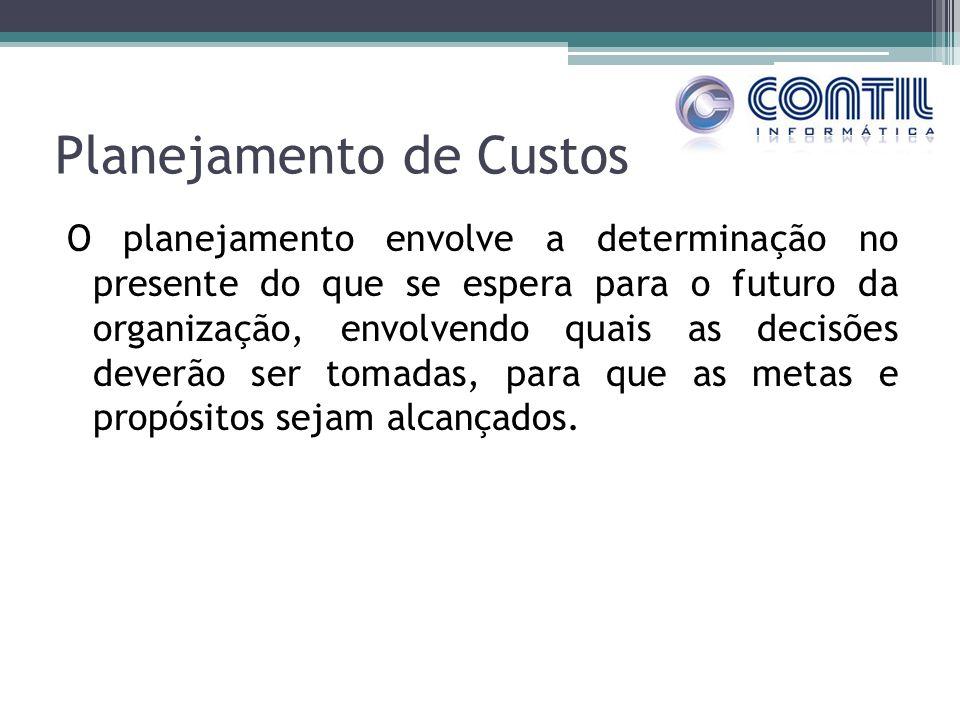 Planejamento de Custos O planejamento envolve a determinação no presente do que se espera para o futuro da organização, envolvendo quais as decisões d