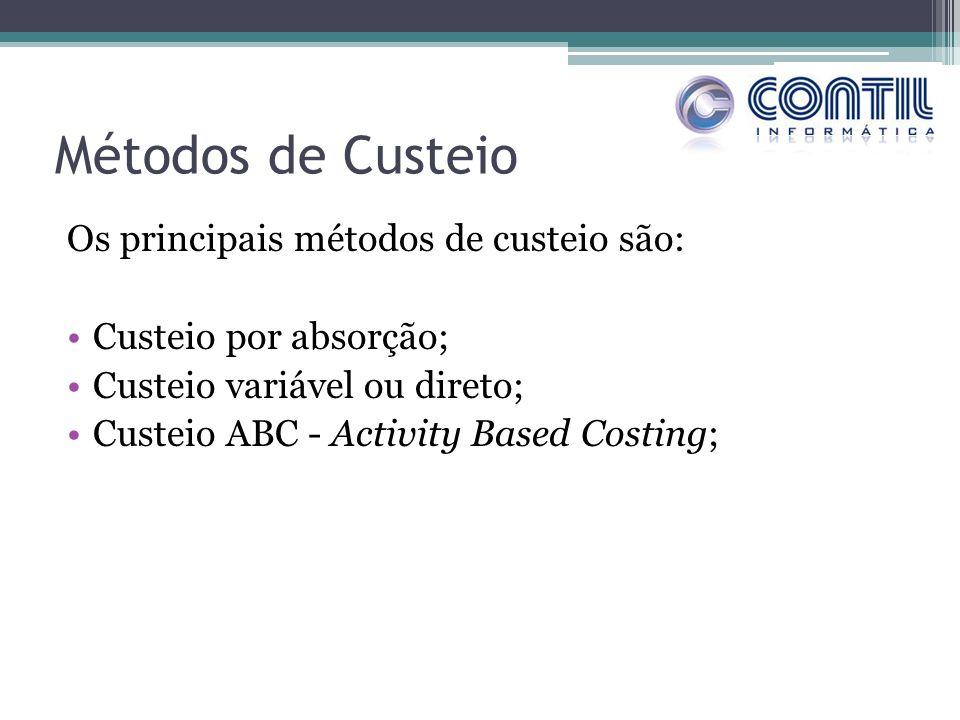 Métodos de Custeio Os principais métodos de custeio são: Custeio por absorção; Custeio variável ou direto; Custeio ABC - Activity Based Costing;