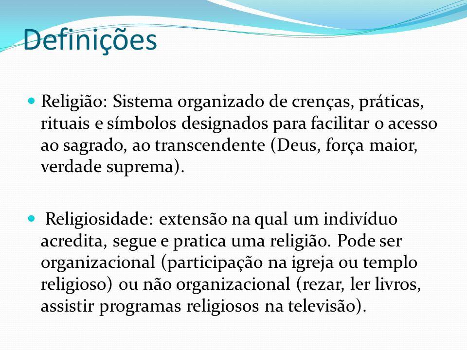Definições Religião: Sistema organizado de crenças, práticas, rituais e símbolos designados para facilitar o acesso ao sagrado, ao transcendente (Deus, força maior, verdade suprema).