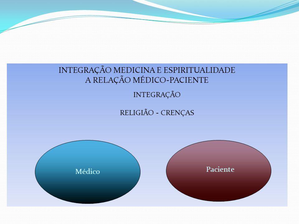 INTEGRAÇÃO MEDICINA E ESPIRITUALIDADE A RELAÇÃO MÉDICO-PACIENTE INTEGRAÇÃO RELIGIÃO - CRENÇAS Paciente Médico