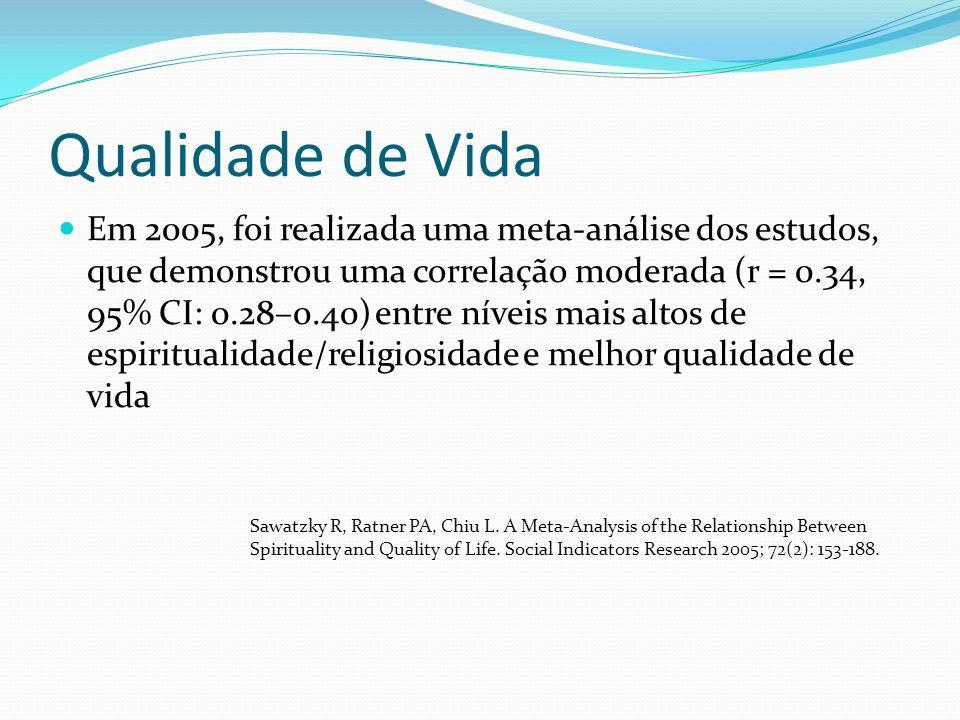 Qualidade de Vida Em 2005, foi realizada uma meta-análise dos estudos, que demonstrou uma correlação moderada (r = 0.34, 95% CI: 0.28–0.40) entre níveis mais altos de espiritualidade/religiosidade e melhor qualidade de vida Sawatzky R, Ratner PA, Chiu L.