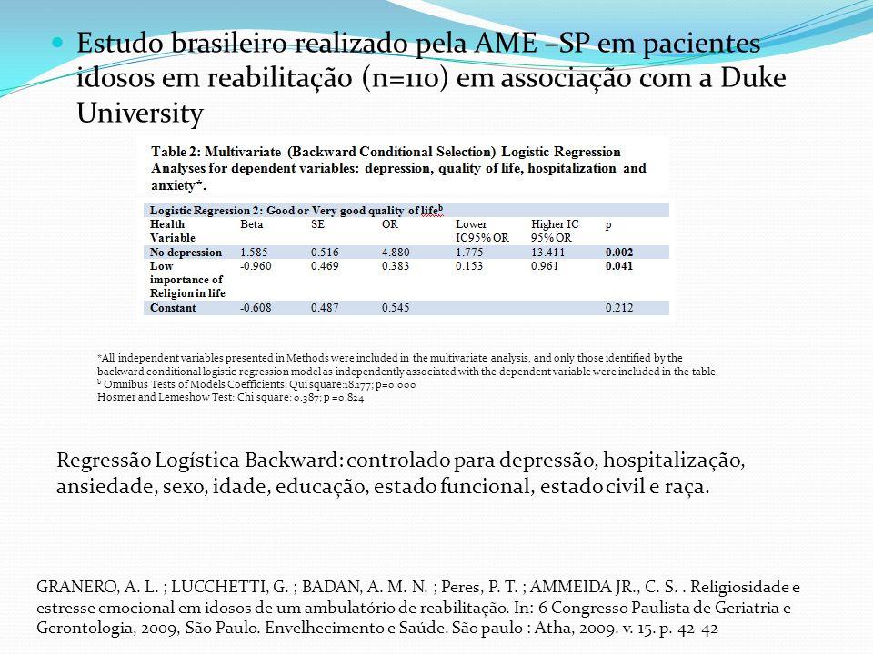 Estudo brasileiro realizado pela AME –SP em pacientes idosos em reabilitação (n=110) em associação com a Duke University GRANERO, A.