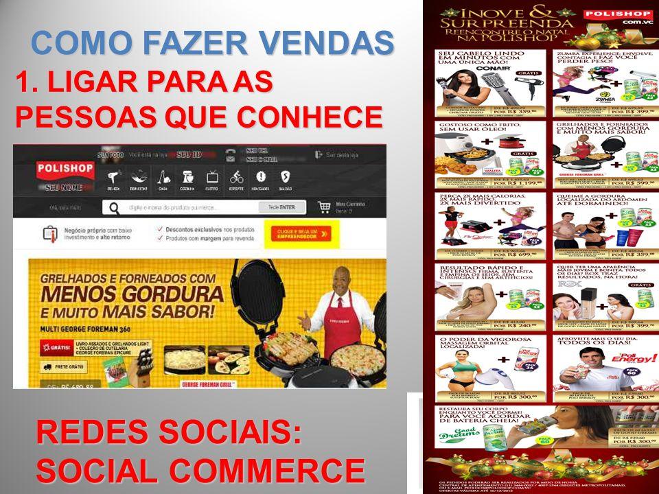COMO FAZER VENDAS 1. LIGAR PARA AS PESSOAS QUE CONHECE REDES SOCIAIS: SOCIAL COMMERCE