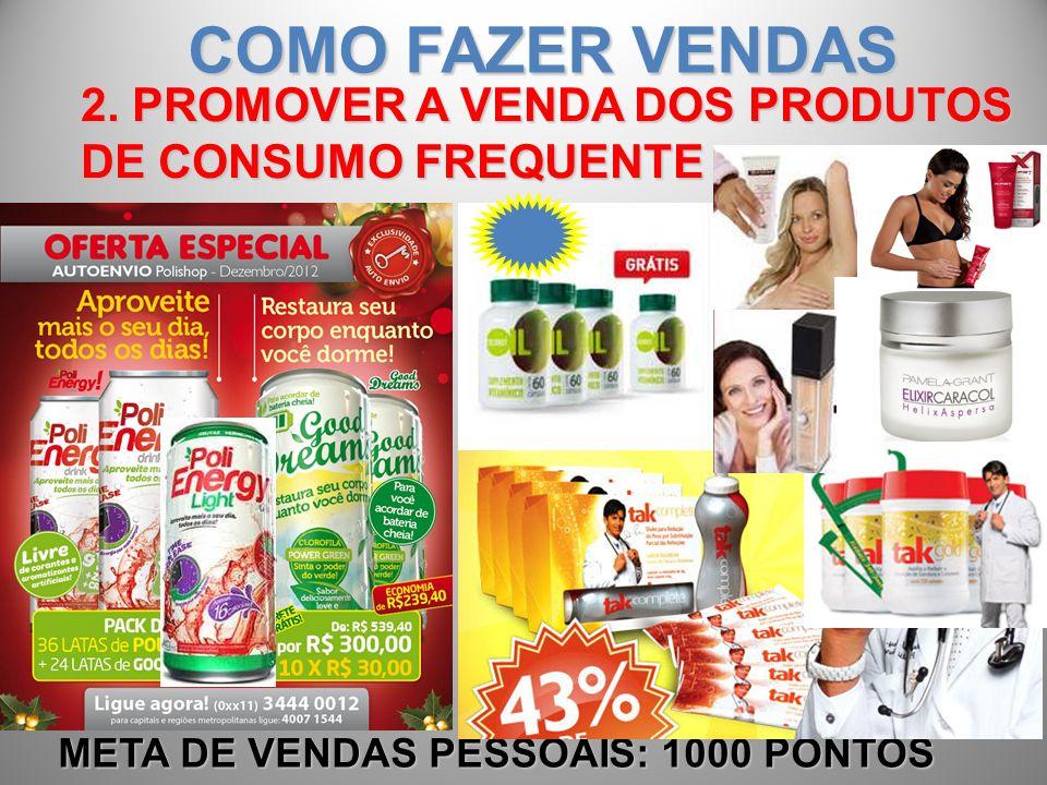 2. PROMOVER A VENDA DOS PRODUTOS DE CONSUMO FREQUENTE META DE VENDAS PESSOAIS: 1000 PONTOS COMO FAZER VENDAS