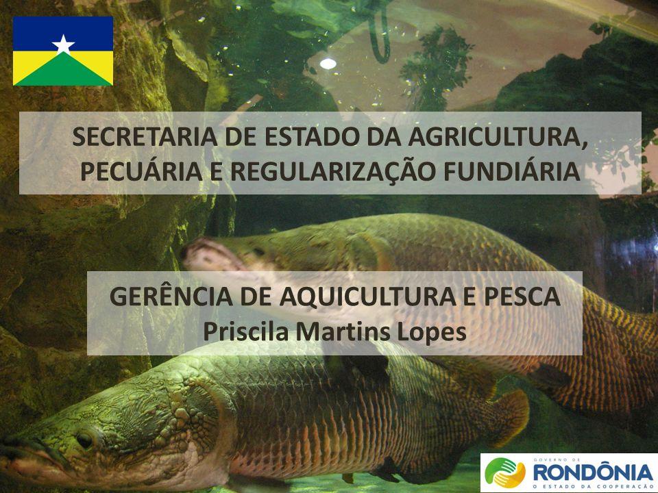 SECRETARIA DE ESTADO DA AGRICULTURA, PECUÁRIA E REGULARIZAÇÃO FUNDIÁRIA GERÊNCIA DE AQUICULTURA E PESCA Priscila Martins Lopes