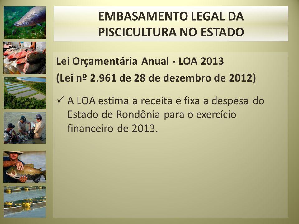 Lei Orçamentária Anual - LOA 2013 (Lei nº 2.961 de 28 de dezembro de 2012) A LOA estima a receita e fixa a despesa do Estado de Rondônia para o exercí