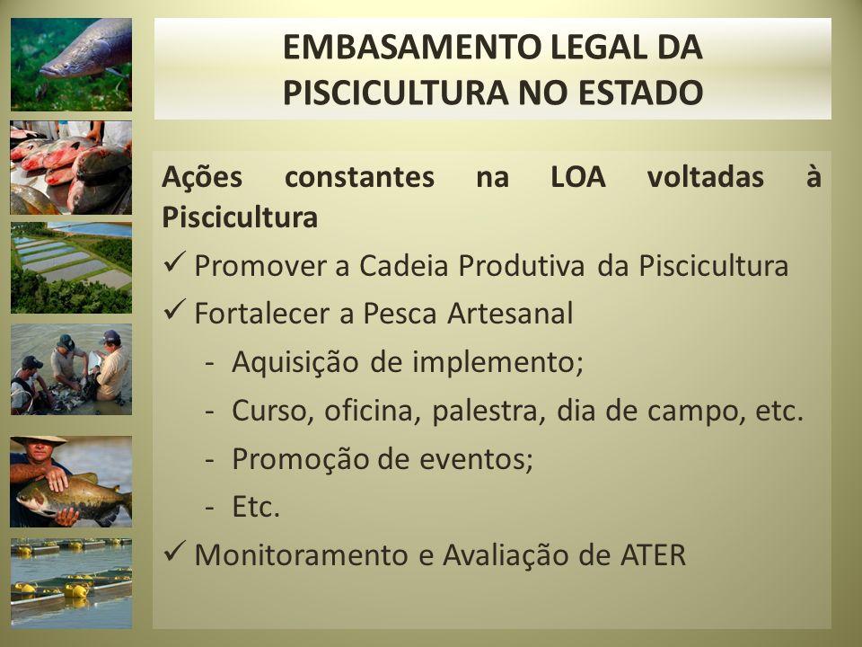 Ações constantes na LOA voltadas à Piscicultura Promover a Cadeia Produtiva da Piscicultura Fortalecer a Pesca Artesanal -Aquisição de implemento; -Curso, oficina, palestra, dia de campo, etc.