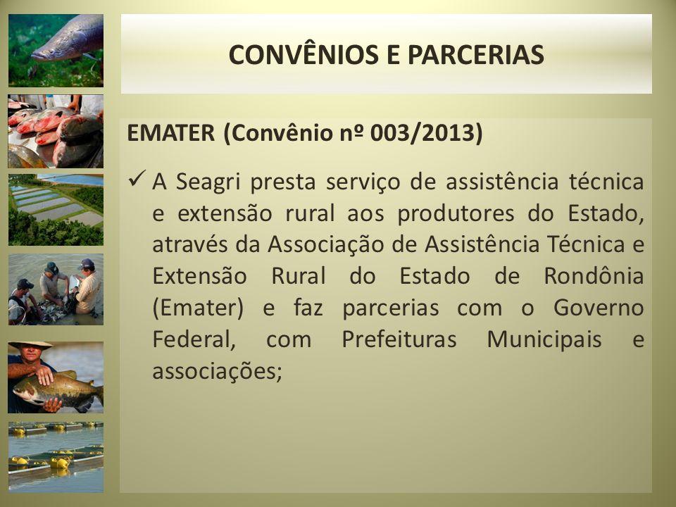 EMATER (Convênio nº 003/2013) A Seagri presta serviço de assistência técnica e extensão rural aos produtores do Estado, através da Associação de Assis