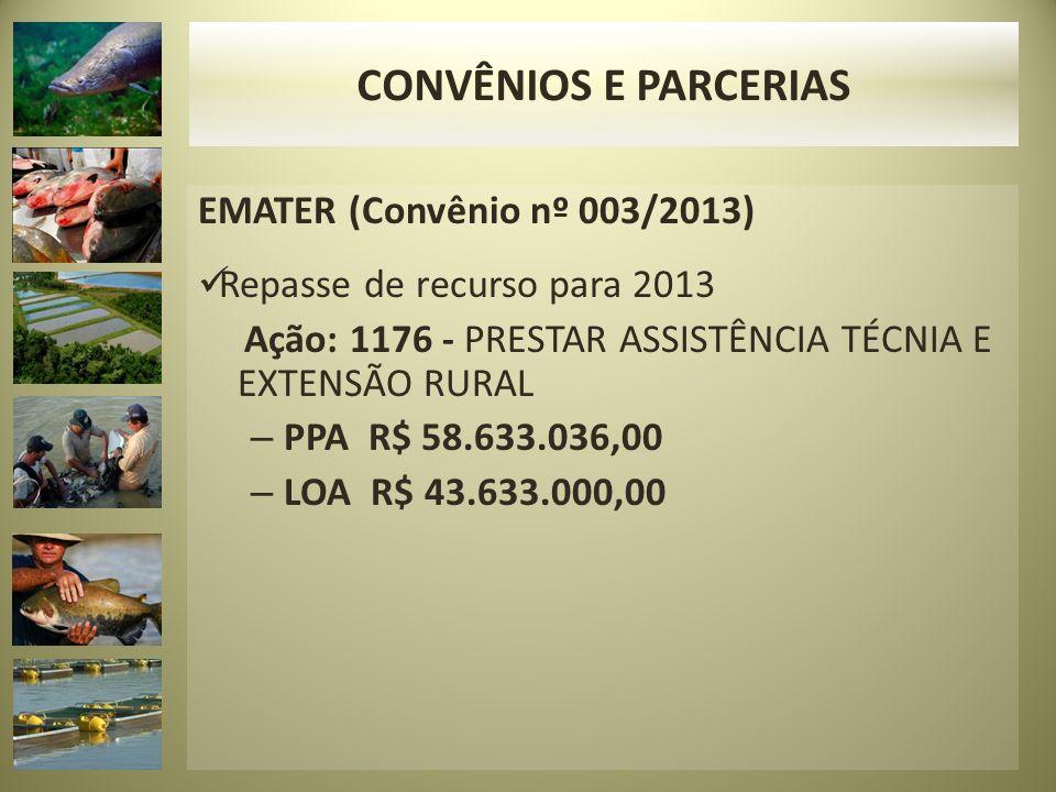 EMATER (Convênio nº 003/2013) Repasse de recurso para 2013 Ação: 1176 - PRESTAR ASSISTÊNCIA TÉCNIA E EXTENSÃO RURAL – PPA R$ 58.633.036,00 – LOA R$ 43.633.000,00 CONVÊNIOS E PARCERIAS