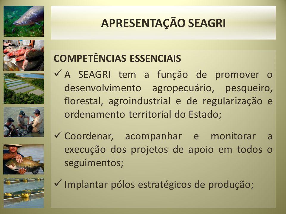 COMPETÊNCIAS ESSENCIAIS A SEAGRI tem a função de promover o desenvolvimento agropecuário, pesqueiro, florestal, agroindustrial e de regularização e ordenamento territorial do Estado; Coordenar, acompanhar e monitorar a execução dos projetos de apoio em todos o seguimentos; Implantar pólos estratégicos de produção; APRESENTAÇÃO SEAGRI