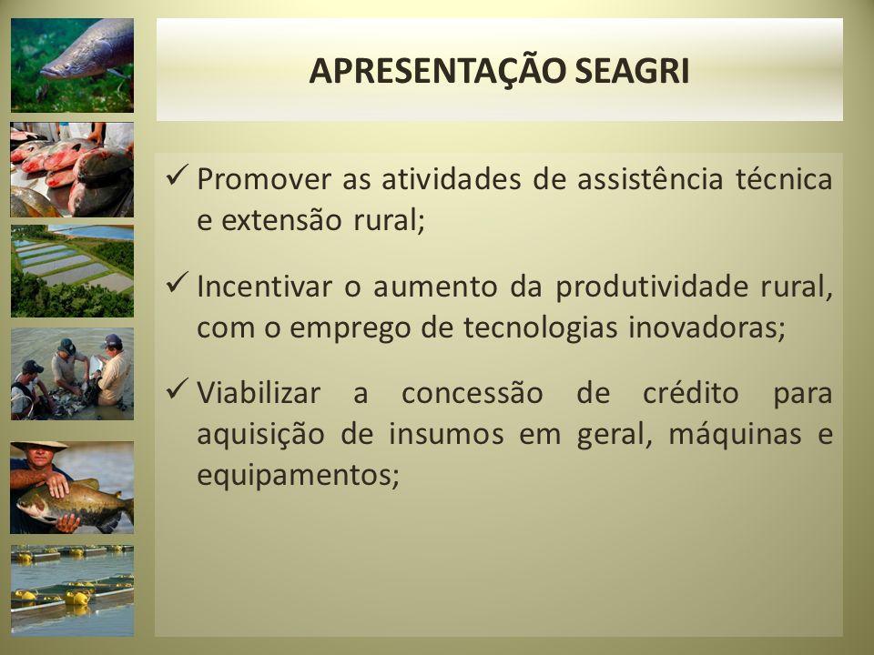 Promover as atividades de assistência técnica e extensão rural; Incentivar o aumento da produtividade rural, com o emprego de tecnologias inovadoras;