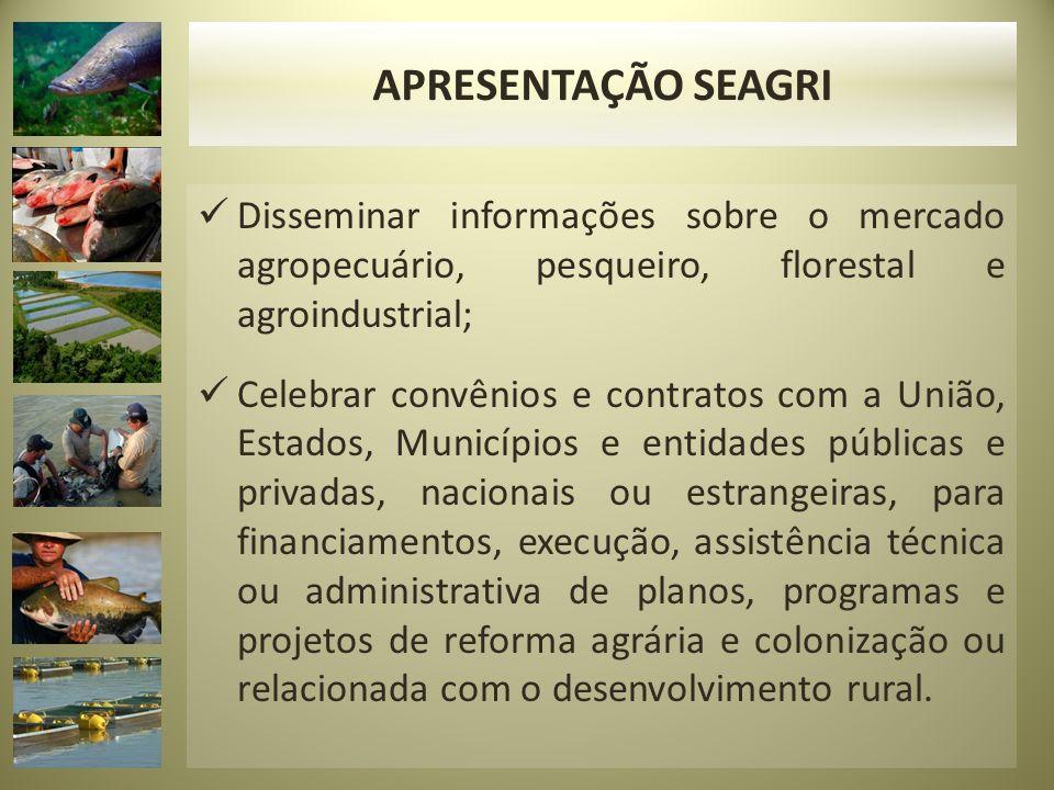 ORGÃO VINCULADOS Agência de Defesa Sanitária Agrosilvipastoril do Estado de Rondônia (IDARON); O Conselho Estadual de Desenvolvimento Rural Sustentável (CEDRS); Fundo Estadual de Desenvolvimento e Fortalecimento da Agricultura Familiar (FEDAF).