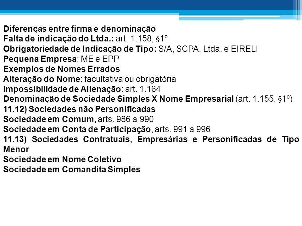 Diferenças entre firma e denominação Falta de indicação do Ltda.: art.