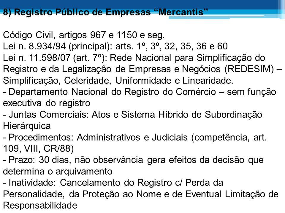 8) Registro Público de Empresas Mercantis Código Civil, artigos 967 e 1150 e seg.
