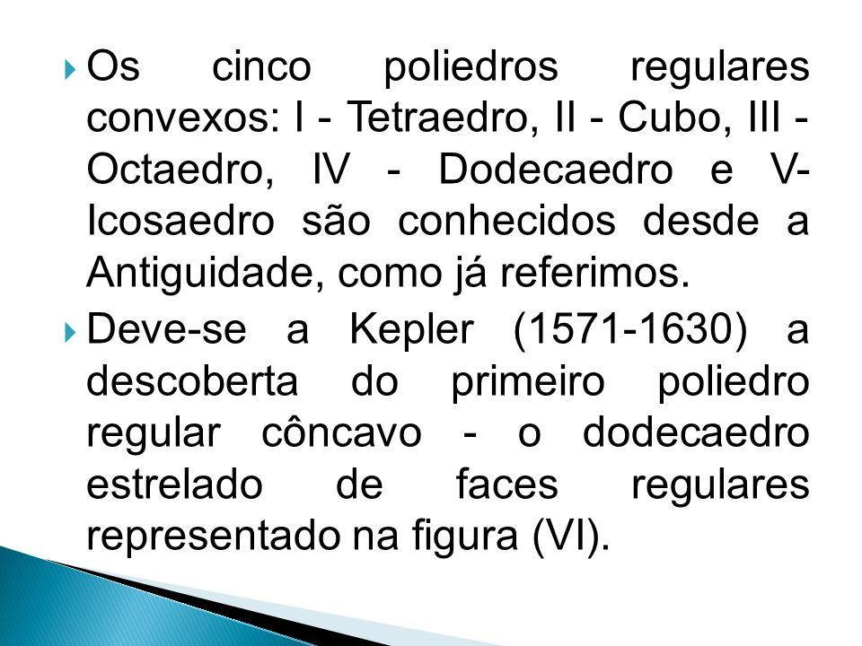 Os cinco poliedros regulares convexos: I - Tetraedro, II - Cubo, III - Octaedro, IV - Dodecaedro e V- Icosaedro são conhecidos desde a Antiguidade, co