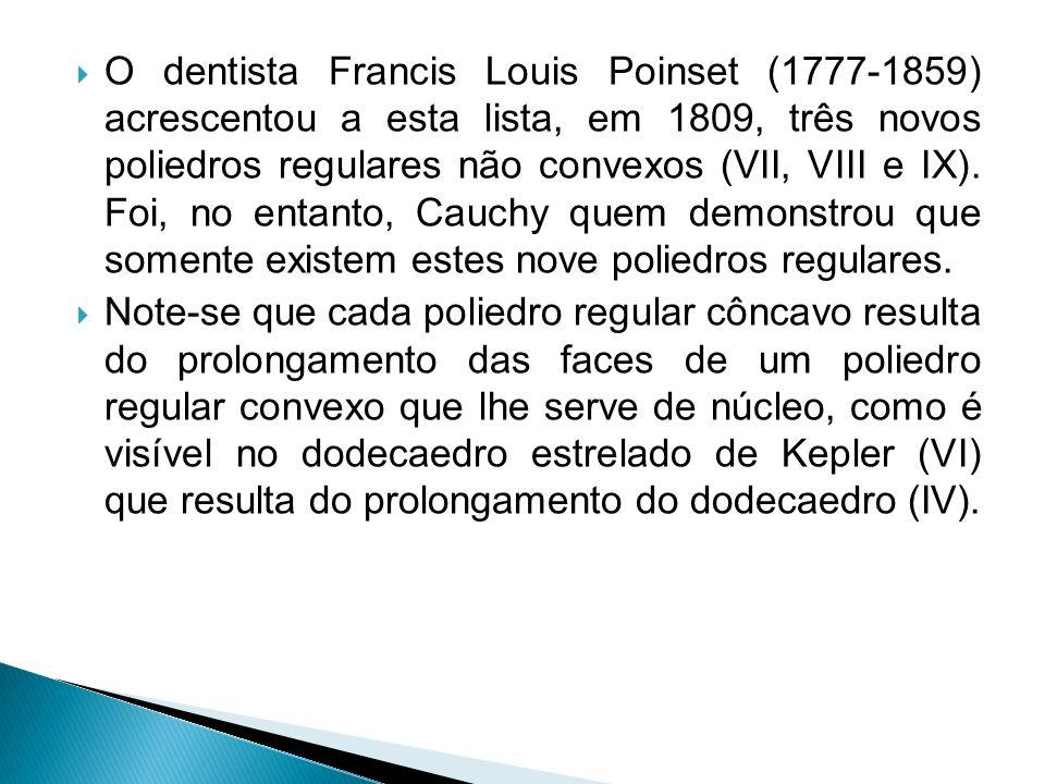 O dentista Francis Louis Poinset (1777-1859) acrescentou a esta lista, em 1809, três novos poliedros regulares não convexos (VII, VIII e IX). Foi, no