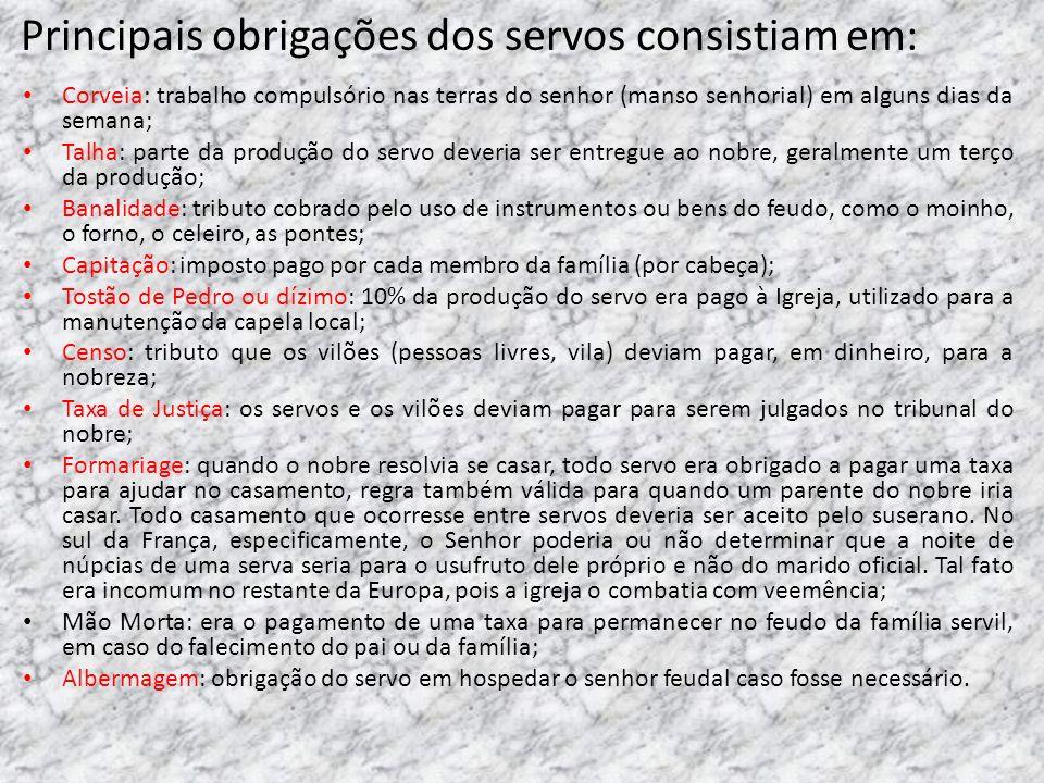 Principais obrigações dos servos consistiam em: Corveia: trabalho compulsório nas terras do senhor (manso senhorial) em alguns dias da semana; Talha:
