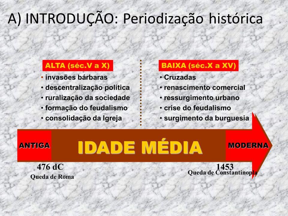 B) CONCEITOS: Idade Média: modo de produção feudal Feudo: propriedade & privilégio (beneficio) Feudalismo: sistema político, econômico e social que vigorou na Idade Média.