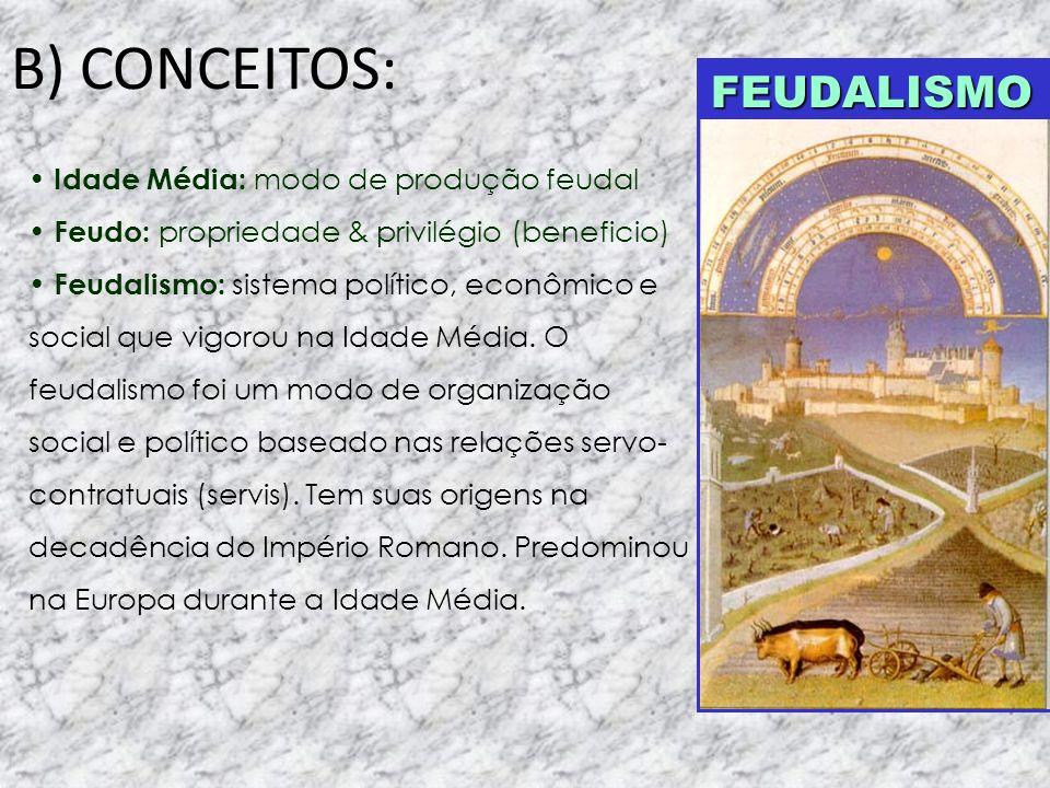 B) CONCEITOS: Idade Média: modo de produção feudal Feudo: propriedade & privilégio (beneficio) Feudalismo: sistema político, econômico e social que vi
