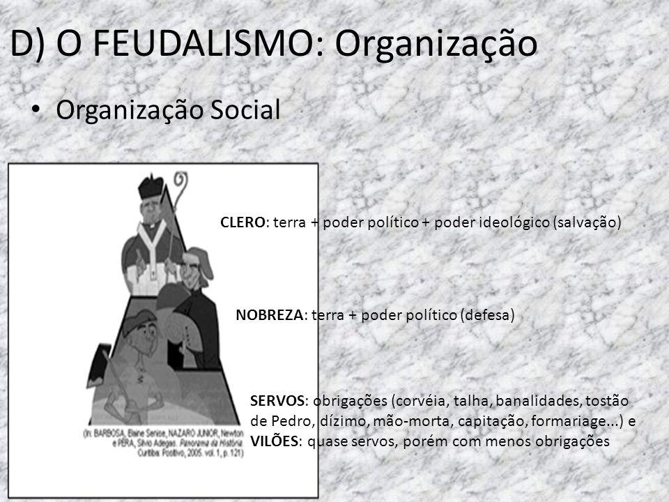 D) O FEUDALISMO: Organização Organização Social CLERO: terra + poder político + poder ideológico (salvação) NOBREZA: terra + poder político (defesa) S