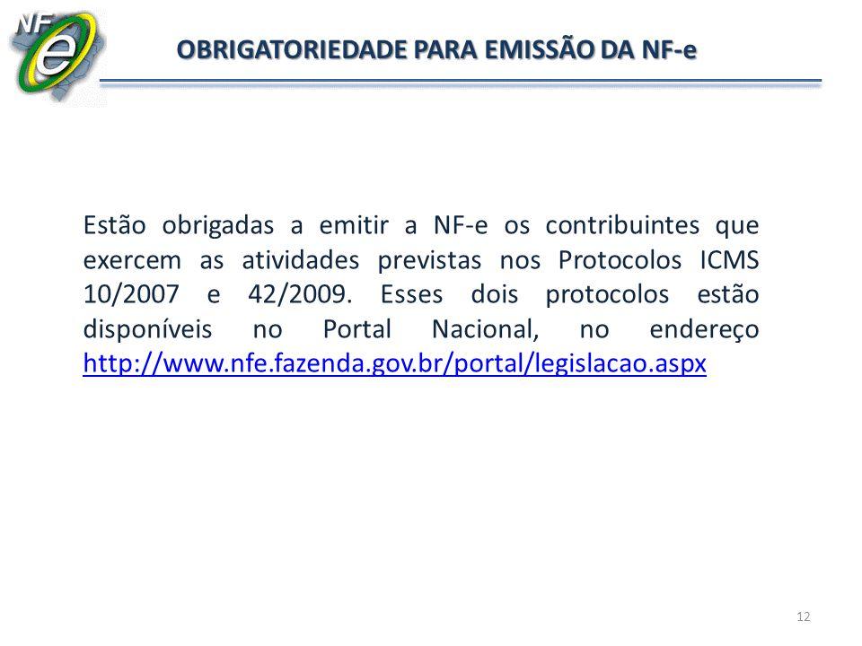 12 OBRIGATORIEDADE PARA EMISSÃO DA NF-e Estão obrigadas a emitir a NF-e os contribuintes que exercem as atividades previstas nos Protocolos ICMS 10/20