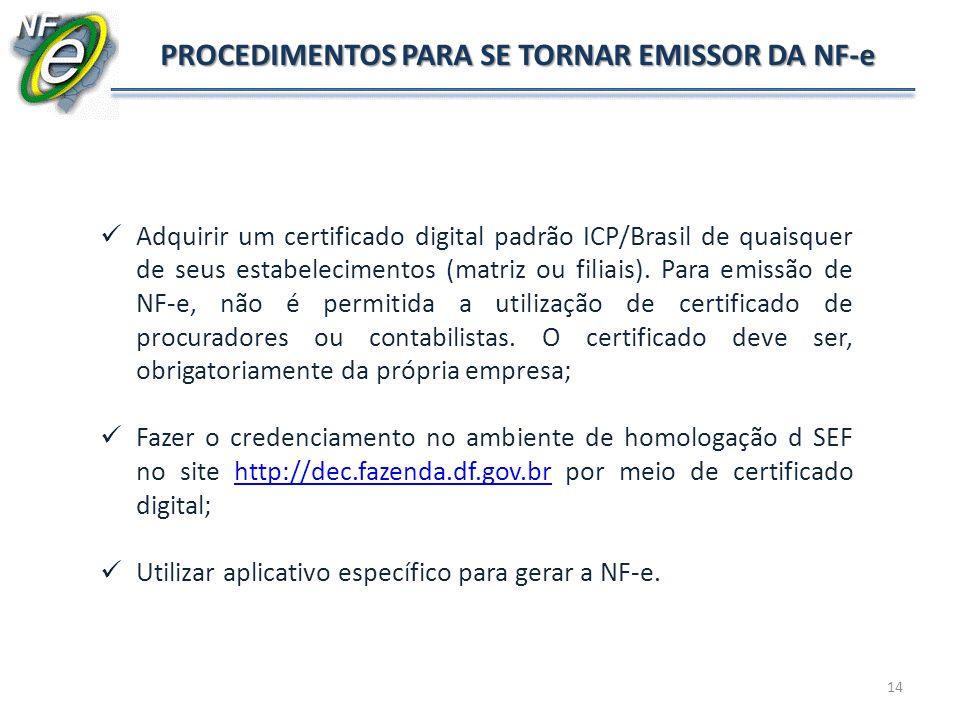 14 PROCEDIMENTOS PARA SE TORNAR EMISSOR DA NF-e Adquirir um certificado digital padrão ICP/Brasil de quaisquer de seus estabelecimentos (matriz ou fil