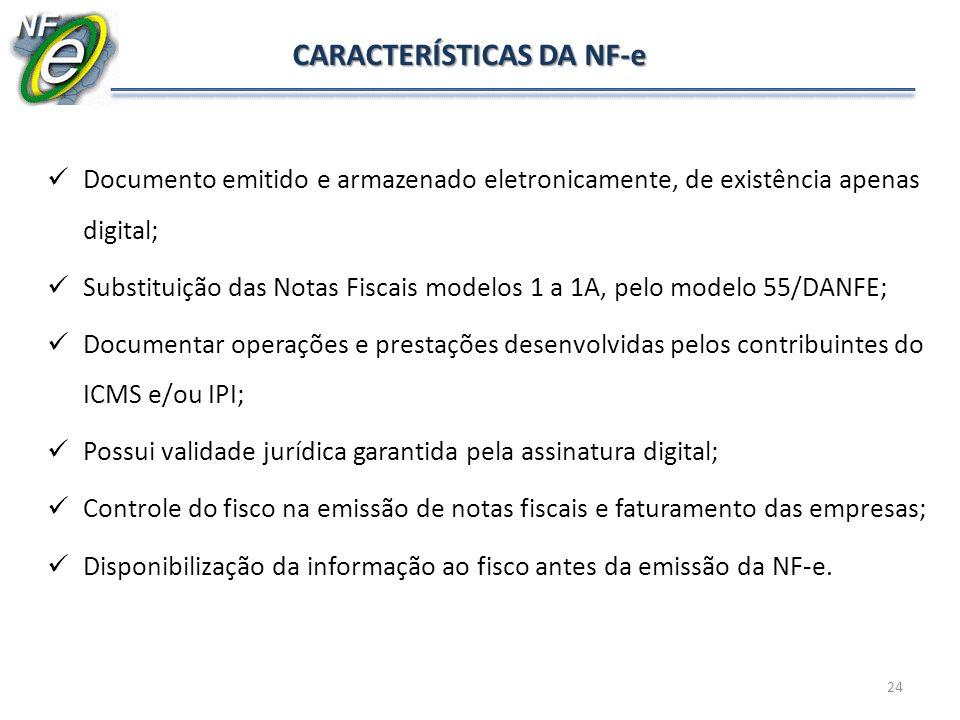 Documento emitido e armazenado eletronicamente, de existência apenas digital; Substituição das Notas Fiscais modelos 1 a 1A, pelo modelo 55/DANFE; Doc