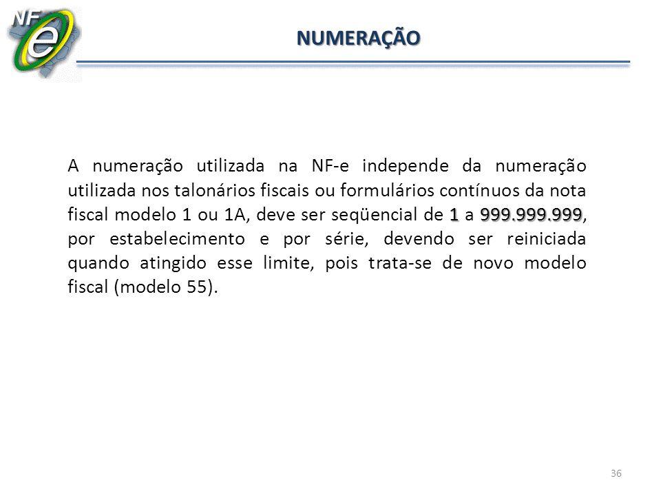 36 NUMERAÇÃO 1999.999.999 A numeração utilizada na NF-e independe da numeração utilizada nos talonários fiscais ou formulários contínuos da nota fisca